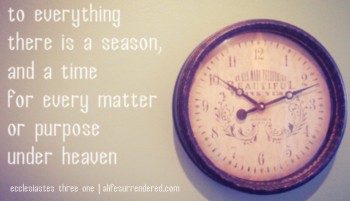 To everything there is a season…