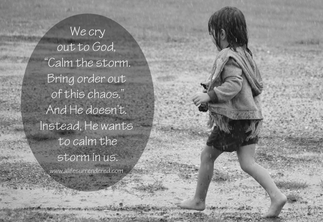 "We cry out to God,  ""Calm the storm. Bring order out  of this chaos."" And He doesn't.  Instead, He wants to calm the storm in us. via www.alifesurrendered.com"